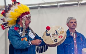 Chief Roland Jerome and fellow tribesman leading a drumming ceremony. Photo courtesy of and copyright David Griffin.